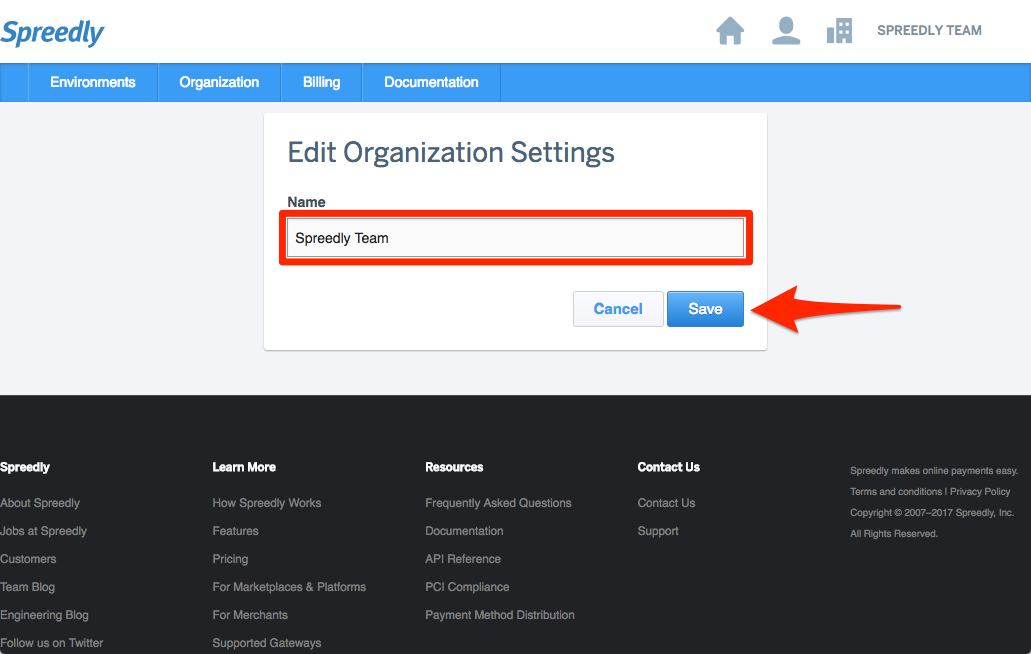 Change your organization name in ID – Spreedly Help Center